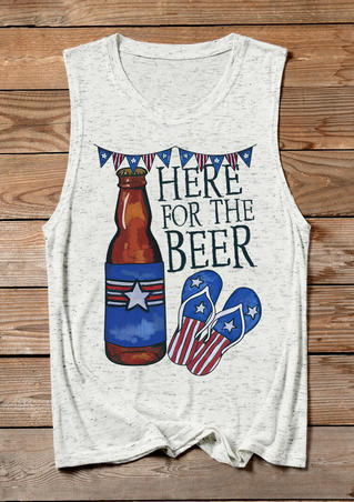 Here For The Beer Flip Flops Tank - White