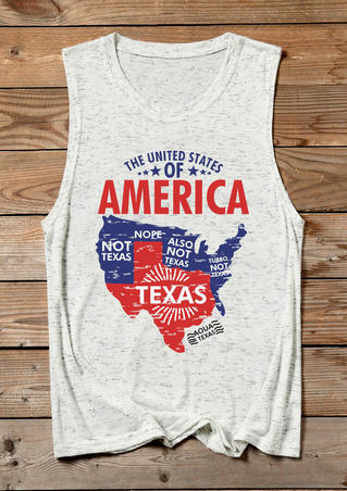 The United States Of America Texas Tank - White