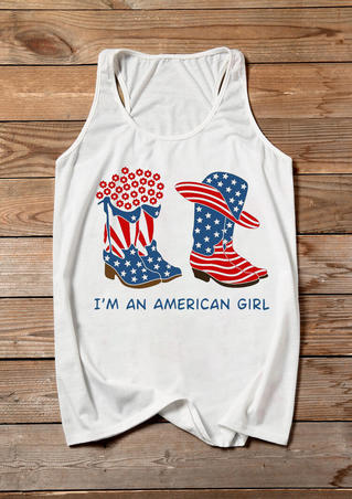 I'm An American Girl Boots Tank - White