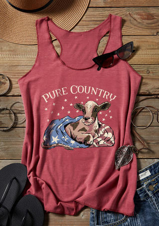 Pure Country Star American Flag Tank - Brick Red