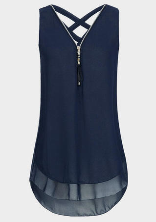 Solid Criss-Cross Zipper Tank - Navy Blue