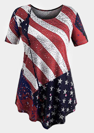 American Flag Asymmetric Blouse - Multicolor