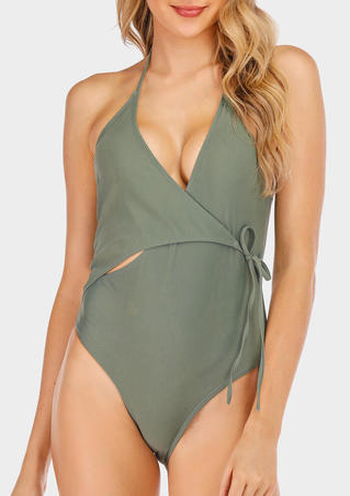Solid Tie Halter One-Piece Swimsuit - Army Green