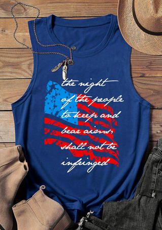 American Flag O-Neck Tank - Blue