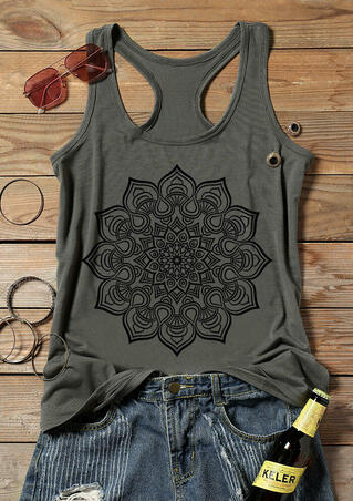 Mandala Printed O-Neck Tank - Gray
