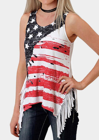American Flag Tassel Tank without Choker - Red