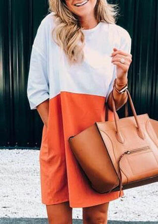 Color Block O-Neck Mini Dress - Orange