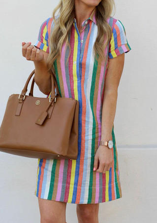 Striped Button Short Sleeve Mini Dress - Multicolor