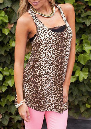 Leopard Printed Tank without Necklace - Leopard