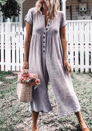 Solid Button Wide Leg Jumpsuit - Gray