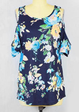 Floral Cold Shoulder Blouse - Blue