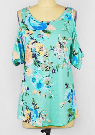 Floral Cold Shoulder Blouse - Green