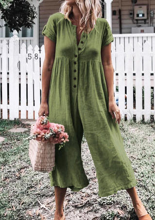 Solid Button Wide Leg Jumpsuit - Green