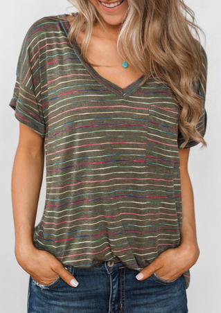 Striped V-Neck T-Shirt Tee without Necklace - Army Green