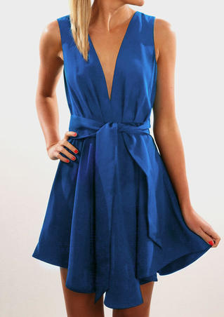 Solid Ruffled V-Neck Tie Mini Dress - Royal Blue