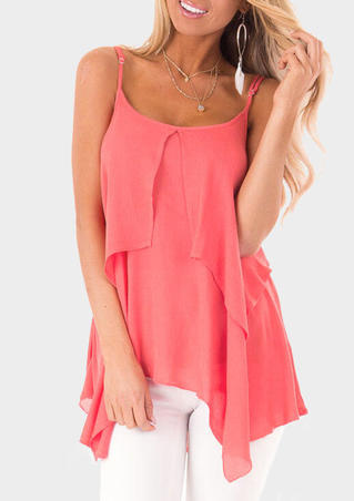 Solid Irregular Spaghetti Strap Camisole - Watermelon Red