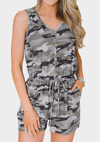 Camouflage Printed Button Drawstring Romper - Gray