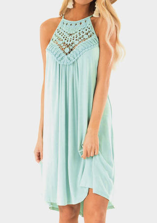 Solid Lace Splicing Hollow Out Casual Dress - Light Green