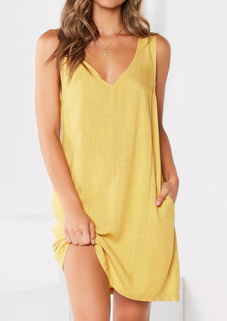 Solid Pocket V-Neck Mini Dress without Necklace - Yellow