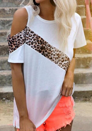 Leopard Printed One Shoulder Blouse - White