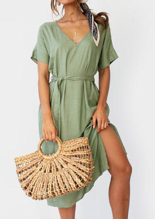 Solid Pocket V-Neck Casual Dress without Necklace - Green