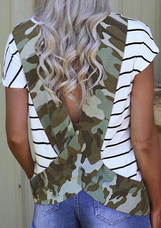 Camouflage Open Back Blouse - Camouflage