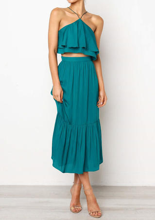 Solid Layered Backless Two-Piece Dresses - Green