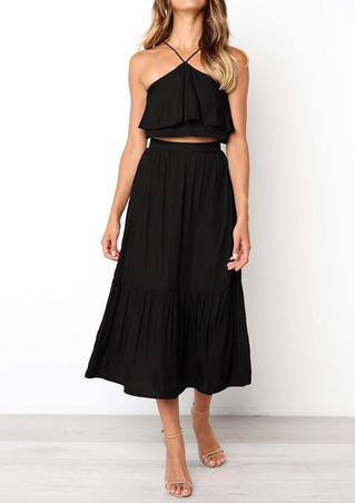 Solid Layered Backless Two-piece Dresses - Black