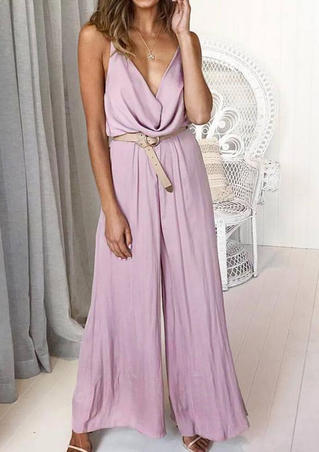 Solid Ruffled Spaghetti Strap Jumpsuit without Necklace - Pink