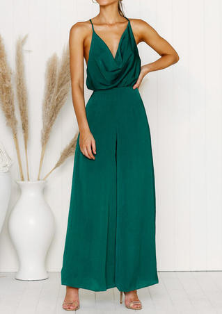 Solid Ruffled Spaghetti Strap Jumpsuit without Necklace - Dark Green