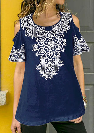 Printed Cold Shoulder Blouse - Navy Blue