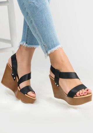 Summer Solid Wedge Sandals - Black