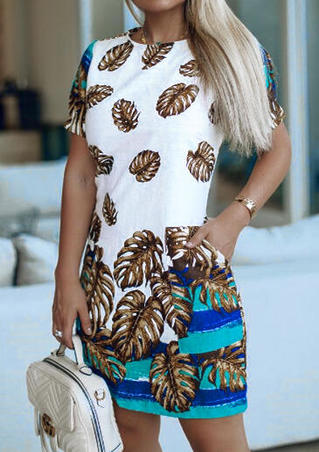 Leaf Printed O-Neck Mini Dress without Necklace - White