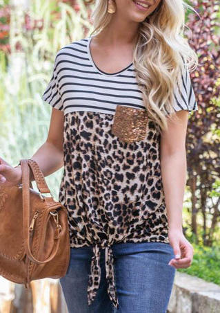 Leopard Sequined  Poket Tie Blouse - Leopard