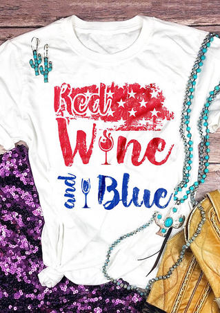 Red Wine And Blue Star T-Shirt Tee - White