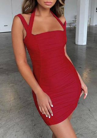 Solid Ruched Open Back Bodycon Dress - Red