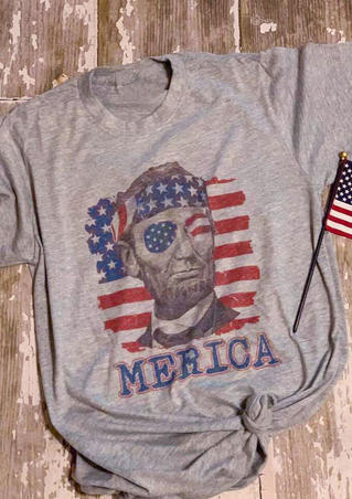 Merica Lincoln American Flag T-Shirt Tee - Gray