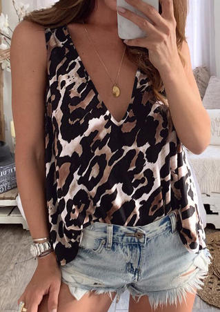 Leopard Printed Deep V-Neck Tank without Necklace - Leopard