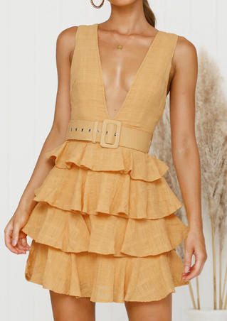 Solid Ruffled Deep V-Neck Mini Dress without Necklace - Yellow