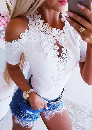Solid Lace Splicing Hollow Out Cold Shoulder Blouse - White
