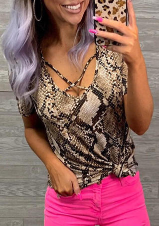 Snake Skin Printed Criss-Cross Blouse