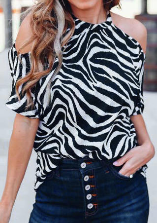 Zebra Pattern Cold Shoulder Blouse - Black