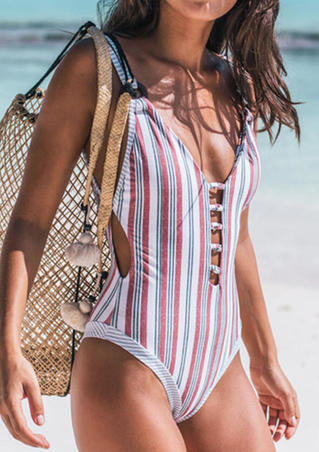 Striped Open Back One-Piece Swimsuit - Stripe