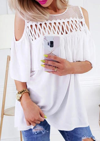 Solid Mesh Splicing Cold Shoulder Blouse - White