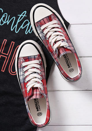 Plaid Lace Up Canvas Sneakers - Red