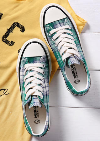 Plaid Lace Up Canvas Sneakers - Green