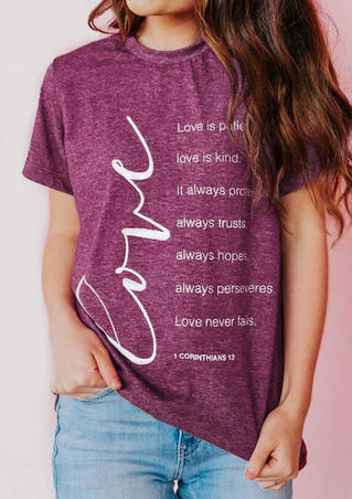 Love Is Patient O-Neck T-Shirt Tee - Plum