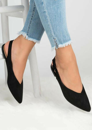 Solid Buckle Strap Pointed Toe Flats - Black