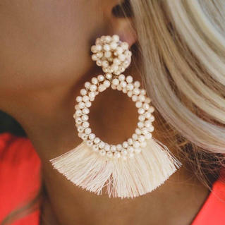 Solid Tassel Beading Earrings