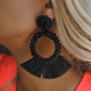 Solid Tassel Ring Earrings